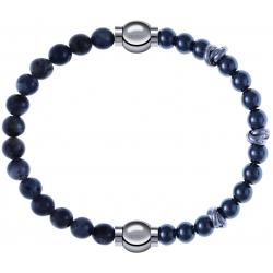 Apollon - Collection MiX - bracelet combinable labradorite 6mm - 10,25cm + hématite 6mm - 10cm