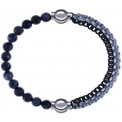 Apollon - Collection MiX - bracelet combinable labradorite 6mm - 10,25cm + chaines 2 tons noir et blancs - 10,25cm