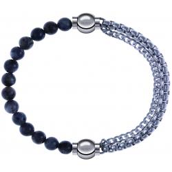 Apollon - Collection MiX - bracelet combinable labradorite 6mm - 10,25cm + chaines - 10,25cm