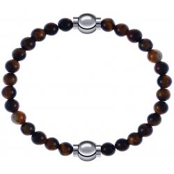 Apollon - Collection MiX - bracelet combinable oeil de tigre 6mm - 10,25cm + oeil de tigre 6mm - 10,25cm