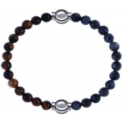Apollon - Collection MiX - bracelet combinable oeil de tigre 6mm - 10,25cm + labradorite 6mm - 10,25cm