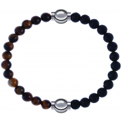 Apollon - Collection MiX - bracelet combinable oeil de tigre 6mm - 10,25cm + pierre de lave 6mm - 10,25cm