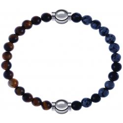 Apollon - Collection MiX - bracelet combinable oeil de tigre 6mm - 10,25cm + obsidienne neige 6mm - 10,25cm