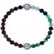 Apollon - Collection MiX - bracelet combinable oeil de tigre 6mm - 10,25cm + agate indienne teintée 6mm - 10,25cm