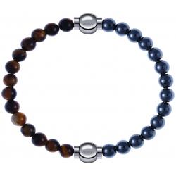 Apollon - Collection MiX - bracelet combinable oeil de tigre 6mm - 10,25cm + hématite 6mm - 10,25cm