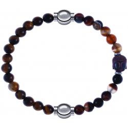 Apollon - Collection MiX - bracelet combinable oeil de tigre 6mm - 10,25cm + agate marron 6mm - Bouddha - 10cm