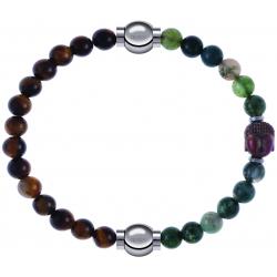 Apollon - Collection MiX - bracelet combinable oeil de tigre 6mm - 10,25cm + agate verte 6mm - Bouddha - 10cm
