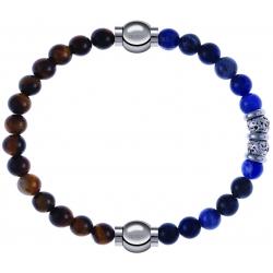 Apollon - Collection MiX - bracelet combinable oeil de tigre 6mm - 10,25cm + labradorite 6mm - 10cm