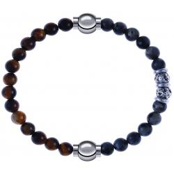 Apollon - Collection MiX - bracelet combinable oeil de tigre 6mm - 10,25cm + sodalite 6mm - 10cm