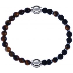 Apollon - Collection MiX - bracelet combinable oeil de tigre 6mm - 10,25cm + oeil de tigre - pierre de lave 6mm - 10,75cm