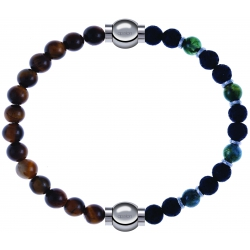 Apollon - Collection MiX - bracelet combinable oeil de tigre 6mm - 10,25cm + agate teintée verte - pierre de lave 6mm - 10,75cm