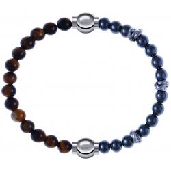 Apollon - Collection MiX - bracelet combinable oeil de tigre 6mm - 10,25cm + hématite 6mm - 10cm