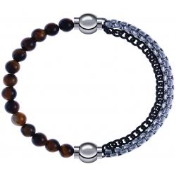 Apollon - Collection MiX - bracelet combinable oeil de tigre 6mm - 10,25cm + chaines 2 tons noir et blancs - 10,25cm