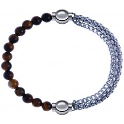 Apollon - Collection MiX - bracelet combinable oeil de tigre 6mm - 10,25cm + chaines - 10,25cm