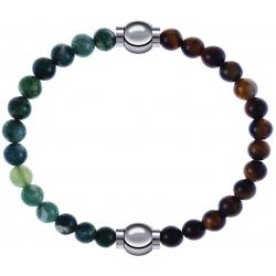 Apollon - Collection MiX - bracelet combinable agate verte mousse 6mm - 10,25cm + oeil de tigre 6mm - 10,25cm