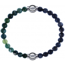 Apollon - Collection MiX - bracelet combinable agate verte mousse 6mm - 10,25cm + labradorite 6mm - 10,25cm