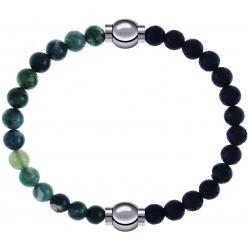 Apollon - Collection MiX - bracelet combinable agate verte mousse 6mm - 10,25cm + pierre de lave 6mm - 10,25cm