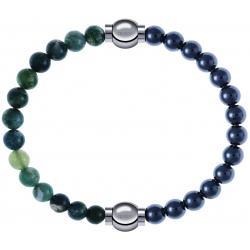 Apollon - Collection MiX - bracelet combinable agate verte mousse 6mm - 10,25cm + hématite 6mm - 10,25cm