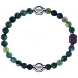 Apollon - Collection MiX - bracelet combinable agate verte mousse 6mm - 10,25cm + agate verte 6mm - Bouddha - 10cm