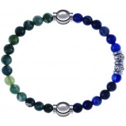Apollon - Collection MiX - bracelet combinable agate verte mousse 6mm - 10,25cm + labradorite 6mm - 10cm