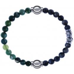 Apollon - Collection MiX - bracelet combinable agate verte mousse 6mm - 10,25cm + sodalite 6mm - 10cm