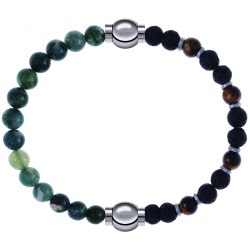 Apollon - Collection MiX - bracelet combinable agate verte mousse 6mm - 10,25cm + oeil de tigre - pierre de lave 6mm - 10,75cm