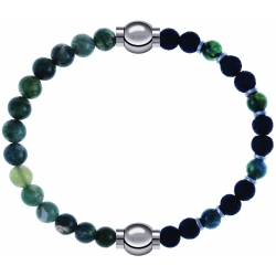 Apollon-Collection MiX-bracelet combinable agate verte mousse 6mm - 10,25cm + agate teintée verte - pierre de lave 6mm - 10,75cm