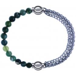 Apollon - Collection MiX - bracelet combinable agate verte mousse 6mm - 10,25cm + chaines - 10,25cm