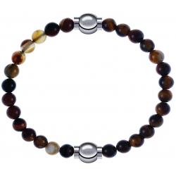 Apollon - Collection MiX - bracelet combinable agate marron 6mm - 10,25cm + oeil de tigre 6mm - 10,25cm