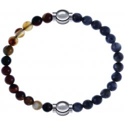 Apollon - Collection MiX - bracelet combinable agate marron 6mm - 10,25cm + labradorite 6mm - 10,25cm