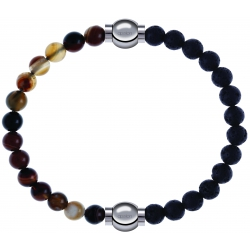 Apollon - Collection MiX - bracelet combinable agate marron 6mm - 10,25cm + pierre de lave 6mm - 10,25cm