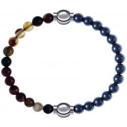 Apollon - Collection MiX - bracelet combinable agate marron 6mm - 10,25cm + hématite 6mm - 10,25cm