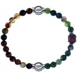 Apollon - Collection MiX - bracelet combinable agate marron 6mm - 10,25cm + agate verte 6mm - Bouddha - 10cm