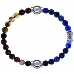 Apollon - Collection MiX - bracelet combinable agate marron 6mm - 10,25cm + labradorite 6mm - 10cm