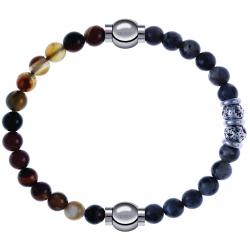 Apollon - Collection MiX - bracelet combinable agate marron 6mm - 10,25cm + sodalite 6mm - 10cm