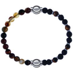 Apollon - Collection MiX - bracelet combinable agate marron 6mm - 10,25cm + oeil de tigre - pierre de lave 6mm - 10,75cm