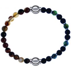 Apollon - Collection MiX - bracelet combinable agate marron 6mm - 10,25cm + agate teintée verte - pierre de lave 6mm - 10,75cm