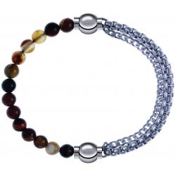 Apollon - Collection MiX - bracelet combinable agate marron 6mm - 10,25cm + chaines - 10,25cm