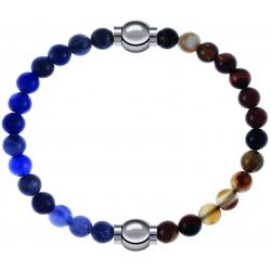 Apollon - Collection MiX - bracelet combinable sodalite 6mm - 10,25cm + agate marron 6mm - 10,25cm