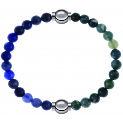 Apollon - Collection MiX - bracelet combinable sodalite 6mm - 10,25cm + agate verte mousse 6mm - 10,25cm