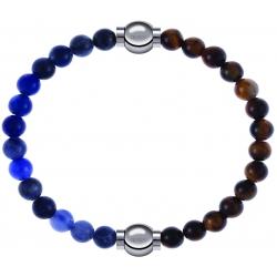 Apollon - Collection MiX - bracelet combinable sodalite 6mm - 10,25cm + oeil de tigre 6mm - 10,25cm