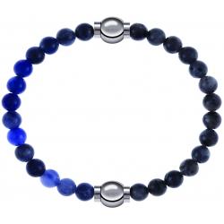 Apollon - Collection MiX - bracelet combinable sodalite 6mm - 10,25cm + labradorite 6mm - 10,25cm