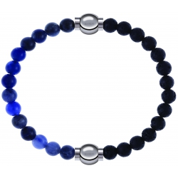 Apollon - Collection MiX - bracelet combinable sodalite 6mm - 10,25cm + pierre de lave 6mm - 10,25cm