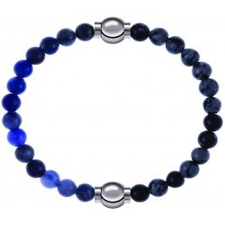 Apollon - Collection MiX - bracelet combinable sodalite 6mm - 10,25cm + obsidienne neige 6mm - 10,25cm