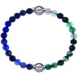 Apollon - Collection MiX - bracelet combinable sodalite 6mm - 10,25cm + agate indienne teintée 6mm - 10,25cm