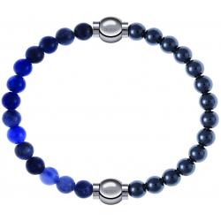 Apollon - Collection MiX - bracelet combinable sodalite 6mm - 10,25cm + hématite 6mm - 10,25cm
