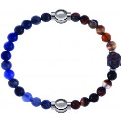 Apollon - Collection MiX - bracelet combinable sodalite 6mm - 10,25cm + agate marron 6mm - Bouddha - 10cm