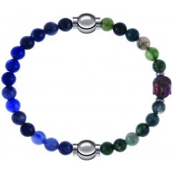 Apollon - Collection MiX - bracelet combinable sodalite 6mm - 10,25cm + agate verte 6mm - Bouddha - 10cm