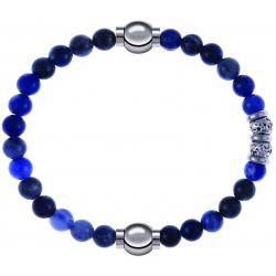 Apollon - Collection MiX - bracelet combinable sodalite 6mm - 10,25cm + labradorite 6mm - 10cm