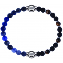 Apollon - Collection MiX - bracelet combinable sodalite 6mm - 10,25cm + oeil de tigre - pierre de lave 6mm - 10,75cm